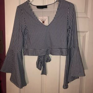 Striped long sleeves crop top